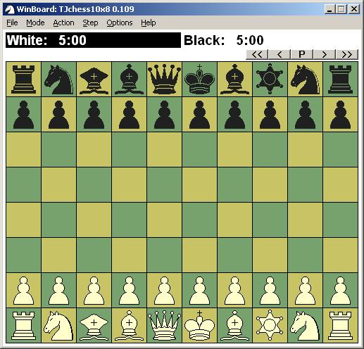 TJchess10x8 playing using the WinBoard_F graphical user interface.